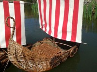 Viking ship for ashes on lake