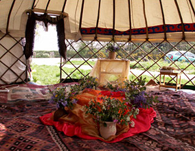 a yurt ready for a child's funeral