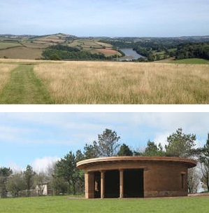 Sharpham Meadow view over the Dart and ceremonial building