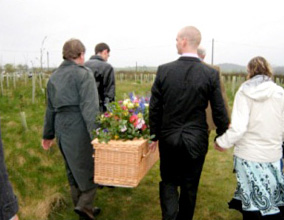 Family bearers at Yealmpton Woodland Burial