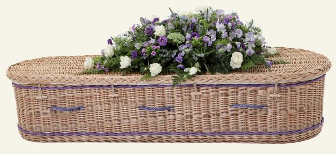 funerals-totnes-devon-coffins-woven-willow-rounded-gold-purple