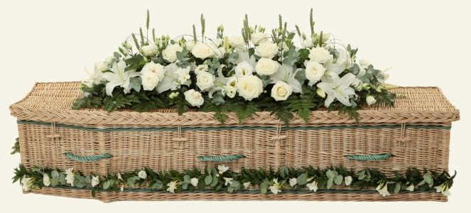 funerals-totnes-devon-coffins-woven-willow-traditional-gold-green